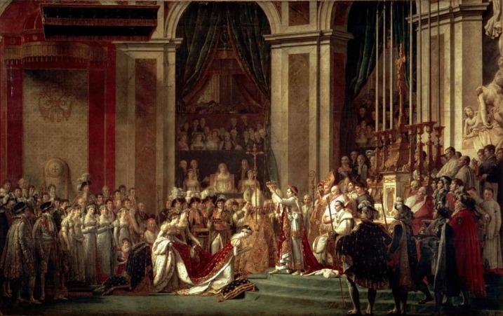 Napoleón y el papa en su coronación