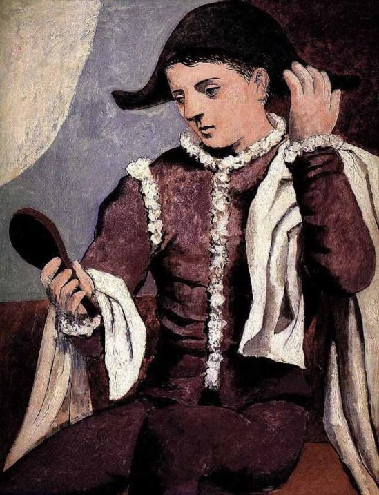 Cuadro pintado por Picasso que representa a un arlequin mirandose a un espejo