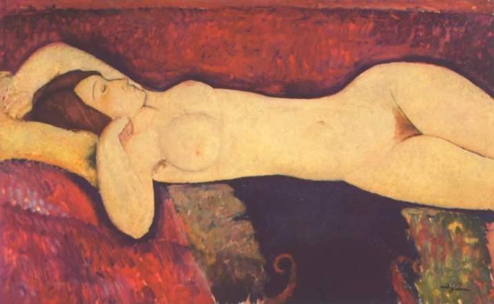 Arte Historia del Arte, cuadro, pintura, modigliani, desnudo femenino, pubis