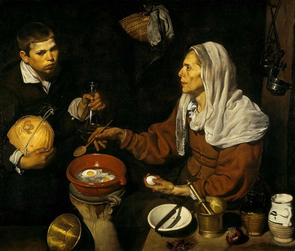 An old woman frying eggs from Velázquez