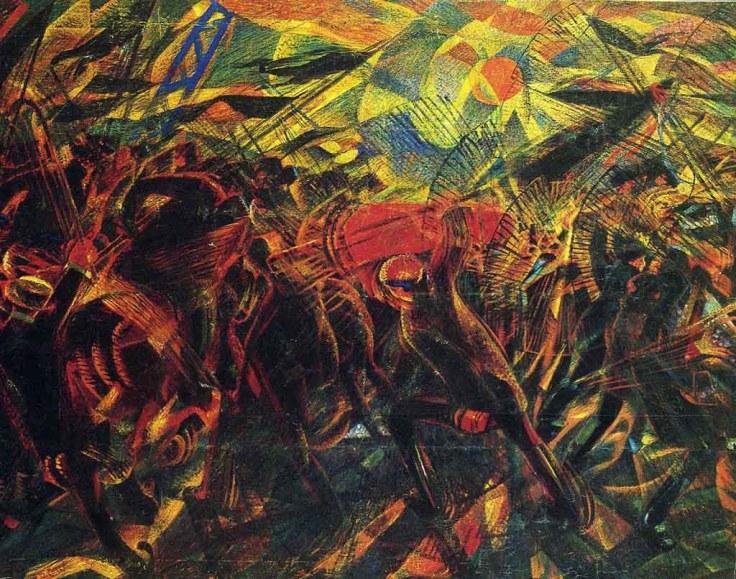 "Obra futurista de Carlo Carrá: ""Funerales por la muerte del anarquista Galli"""
