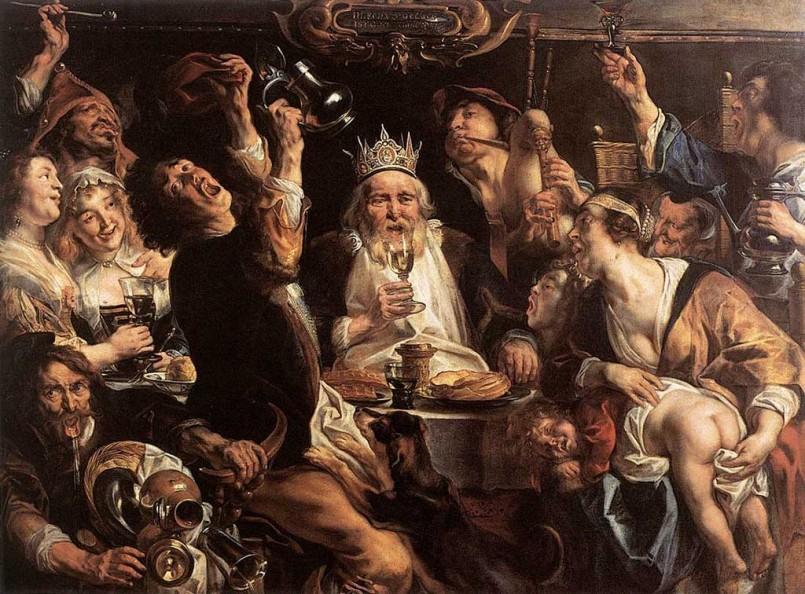 Cuadro que representa la celebración de la epifanía en la holanda del siglo XVII